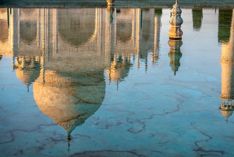 Taj Mahal in a Reflecting Pool at Sunset
