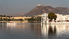 Lake Palace Hotel on Lake Pichola with Monsoon Palace in the Background