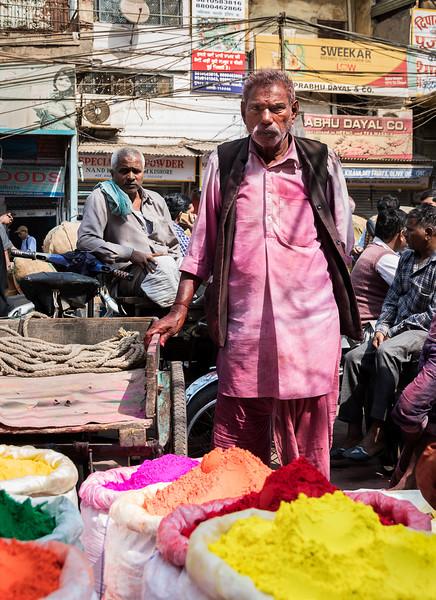 This man celebrated Holi a bit early! - Chandni Chowk Market - Old Delhi