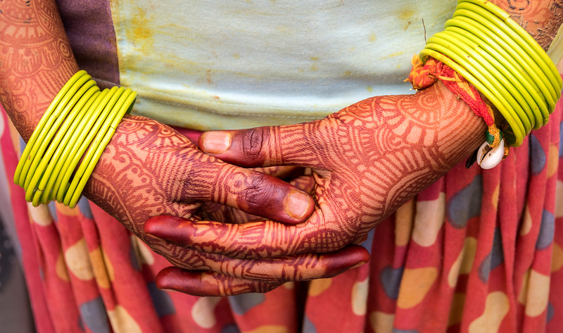 Henna Drawings in Preparation for this Woman's Wedding - Bharatpur