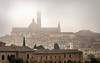Siena shrouded in early morning fog - Tuscany