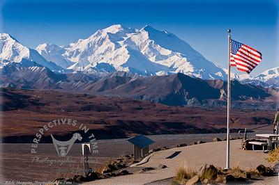 Denali - Mountain and the flag