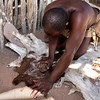 Damara People refining  goatskin
