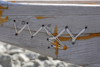 Detail of the hand tying construction of the kayaks at the Sisimiut kayak club.