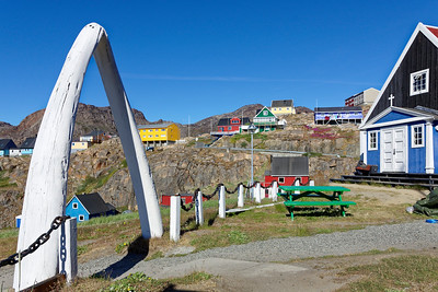 A couple jaw bones from a large bowhead whale provide a dramatic entrance to the churchyard in Sisimiut.