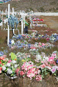 The cemetery at Sisimiut is a blaze of colour, with plastic flowers being the preferred grave adornment, certainly they appear to last longer than the fresh type, which would be virtually unavailable in the Greenland climate.