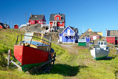 Scandinavian style houses and boats in Sisimiut.