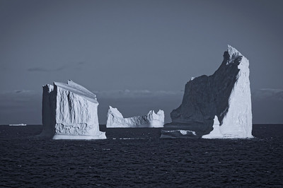 Icebergs in the Davis Strait, captured by the infrared camera, and rendered as a selenium tone in DXO Optics.
