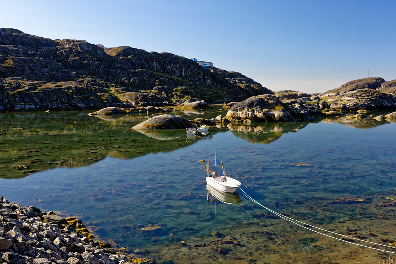 Tranquil water at the kayak club area at Sisimiut on the west coast of Greenland.