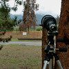 Showing my 300mm lens on a tripod at the closet place I could get to the Osprey Nest.