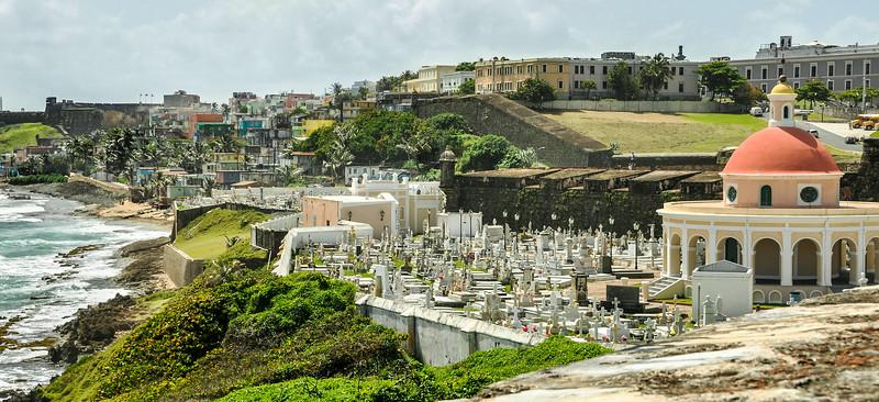 Puerto Rico 2013 - Old San Juan - View of Old San Juan Cemetery & beach from El Morro