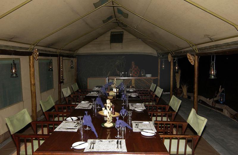 Dining tent Linyati Camp Botswana