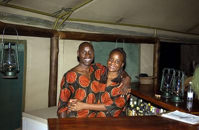 Bar staff Linyati camp Botswana