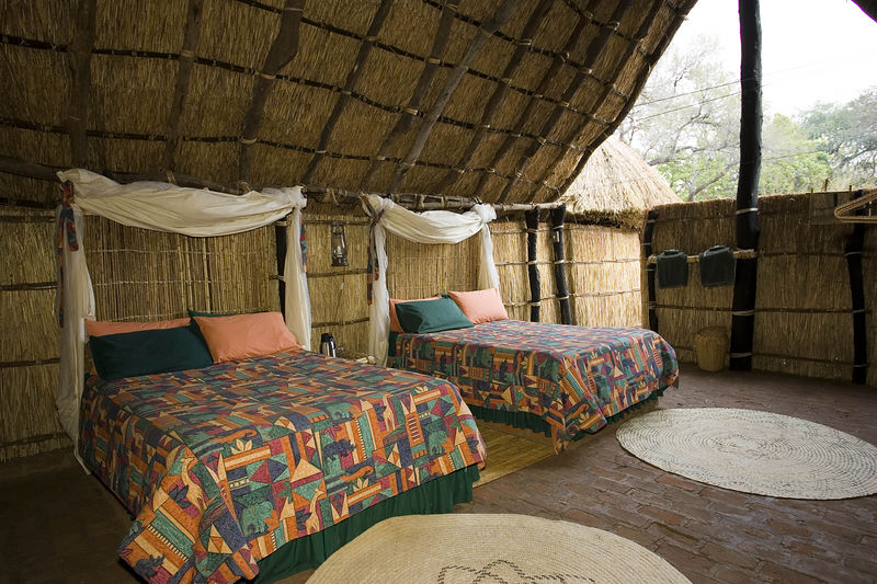 Interior of hut at Tafika camp, South Luagwa Zambia
