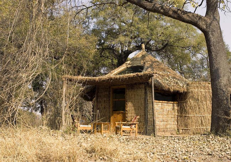 Hut at Mwambo bush camp, South Luangwa Zambia