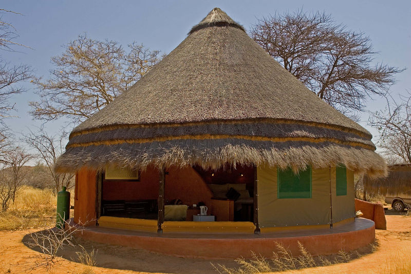 Hut at Okinjima bush camp,Namibia