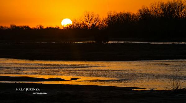 Sunrise on Platte River in Nebraska