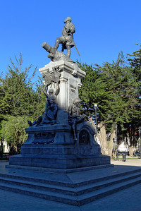 The monument to Ferdinand Magellan in the main square of Punta Arenas, Chile. He discovered the Straits of Magellan between South America and Tierra del Fuego, opening up the trade route to the Pacific.