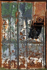 Detail of some of the old whaling equipment, maybe a painted metal door, at Grytviken.