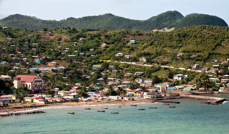 On the way to the CoCo Palm resort - East Coast Highway stop at the fishing village of Dennery