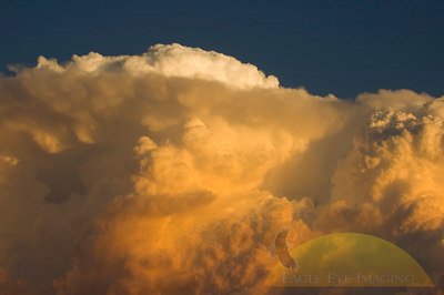 A thunderstorm moves into over a midwest town at sunset.