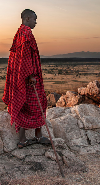 Tarangire Park- Maasai Warrior at Sunset