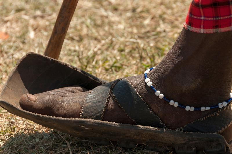 Maasai Village at Ngorongoro Crater - Traditional Clothing and Sandals Made of Tires