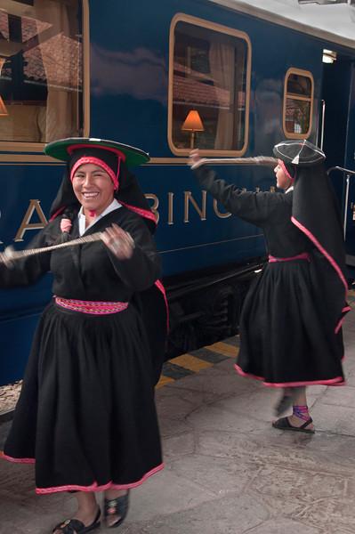 On the way to Machu Picchu -Andean dancers at Hiram Bingham train station