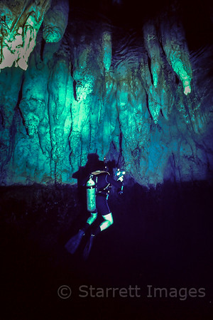 Stalactites in a limestone cave underwater