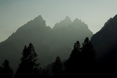 A smoky haze silhouettes the mountains in Grand Teton National Park