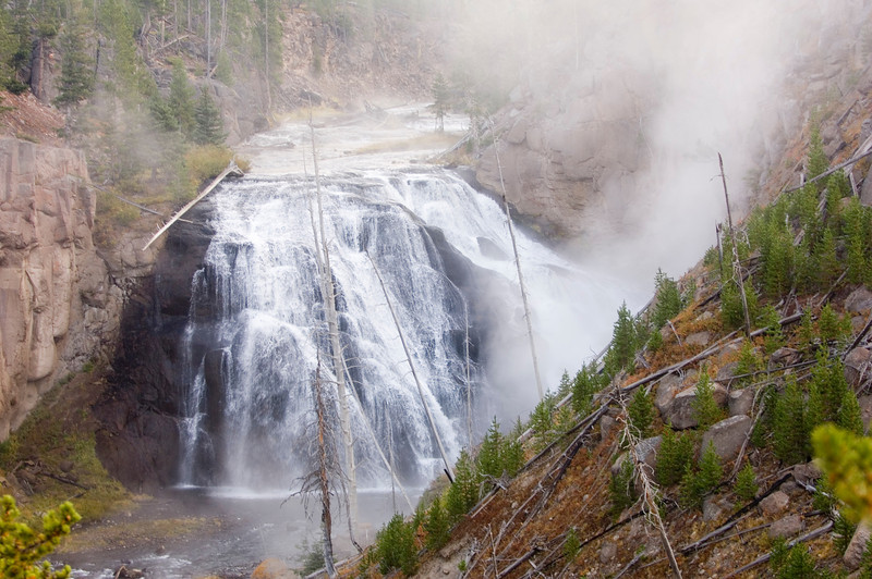 A waterfall in yellowstone national park