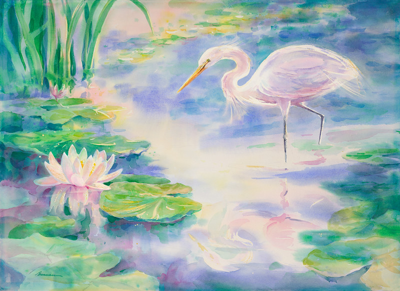 Egret with Water Lily
