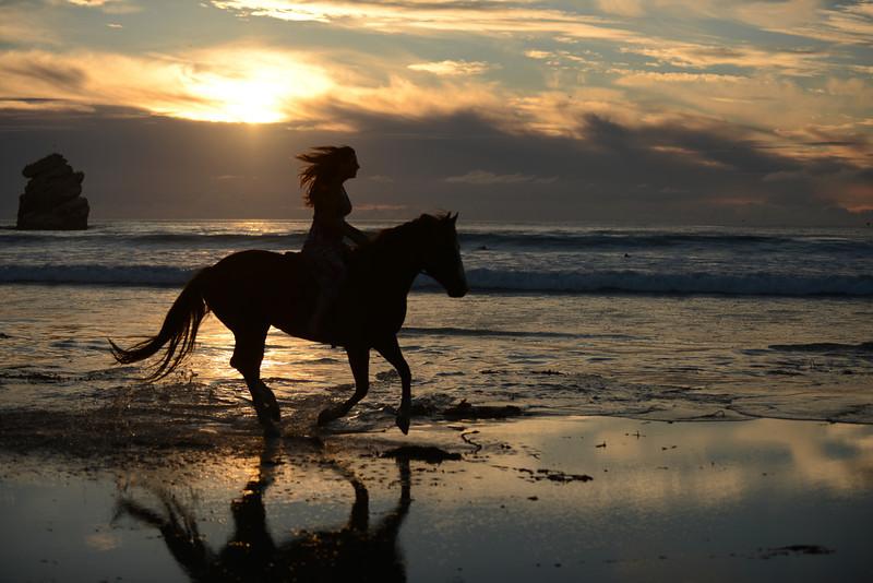 Sunset horse ride.