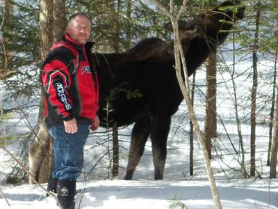 Scott Ryan and the moose March 2013.