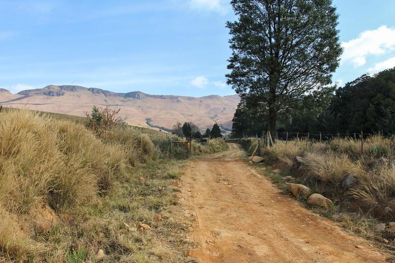 Farm gravel road  in the foothills of the Drakensberg along the Midland meader, Dargle, KwaZulu-Natal