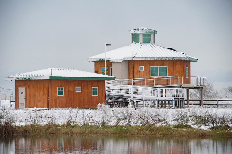 Visitor Information Station (VIS) after a rare snowfall.