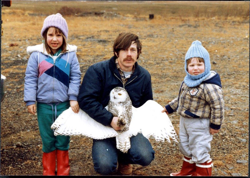 Norman with his assistants (aka his children)