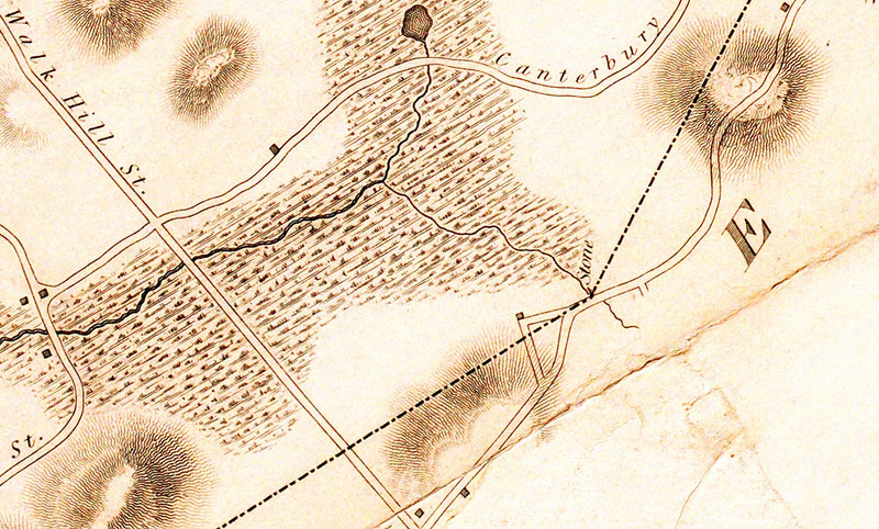 1832: Detail of early map of Roxbury by John G. Hales, showing that part of the Canterbury Brook watershed bounded by Canterbury, Walk Hill, and (here unnamed) Harvard Streets – the site of the future Boston Nature Center.  <em>Map reproduction courtesy of the Norman Leventhal Map Center, Boston Public Library.</em>