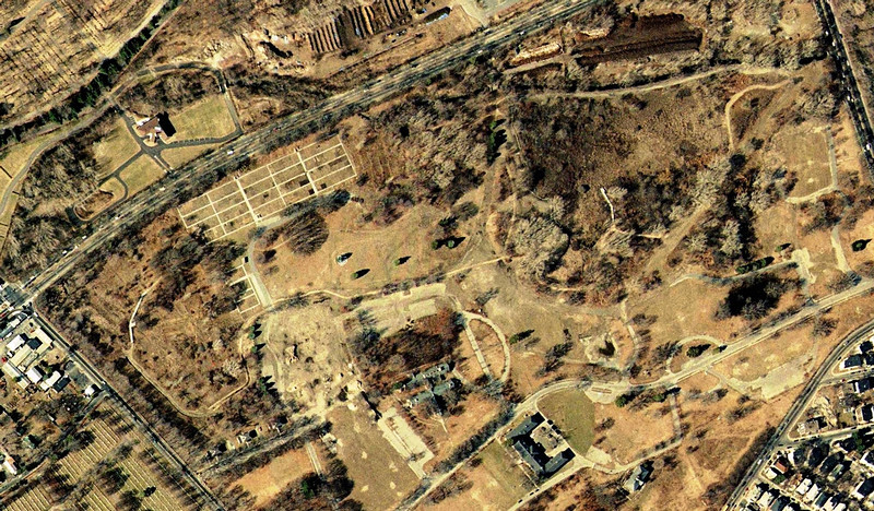 2001: Mass Color Ortho by MassGIS, showing the removal of most of the hospital buildings, the reduction of the community gardens, and the creation of trails that accompanied the emergence of the Boston Nature Center as a Mass Audubon sanctuary. <em>Image accessed through The Boston Atlas/Boston Redevelopment Authority.</em>