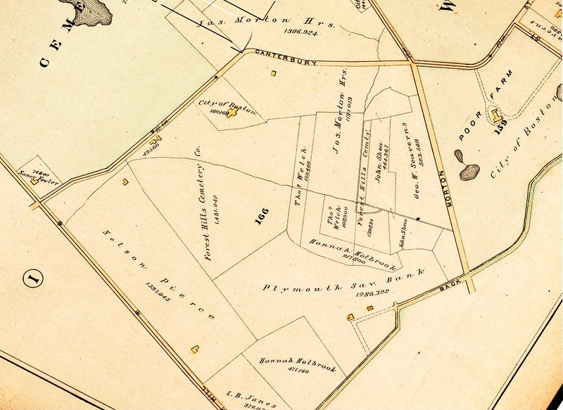 1884: Detail from atlas of Boston by George W. Bromley, showing changes in land ownership and the beginnings of the institutional presence of the City of Boston. <em>Map reproduction courtesy of the Jamaica Plain Historical Society.</em>