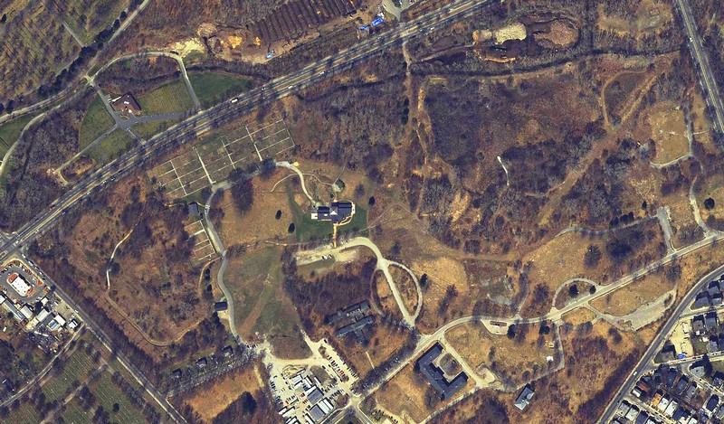 2005: Mass Color Ortho by MassGIS; note the increased plant and tree cover, and the new George Robert White Environmental Conservation Center in the middle of the sanctuary. <em>Image accessed through The Boston Atlas/Boston Redevelopment Authority.</em>