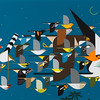 """From the <a href=""""http://www.massaudubon.org/Nature_Connection/Sanctuaries/Visual_Arts/index.php"""">Mass Audubon Art Collection</a>: Charley Harper, <i>Mystery of the Missing Migrants, 1992"""
