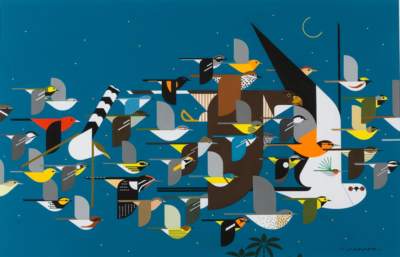 "From the <a href=""http://www.massaudubon.org/Nature_Connection/Sanctuaries/Visual_Arts/index.php"">Mass Audubon Art Collection</a>: Charley Harper, <i>Mystery of the Missing Migrants, 1992"
