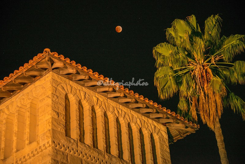 Blood Moon over Stanford building
