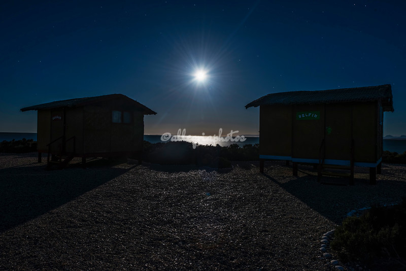 The setting full moon, Baja California, Sur, San Ignacio Lagoon, Mexico