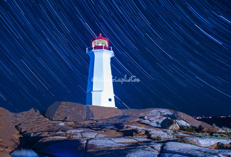 Star trails, Peggy Cove's Lighthouse, Nova Scotia