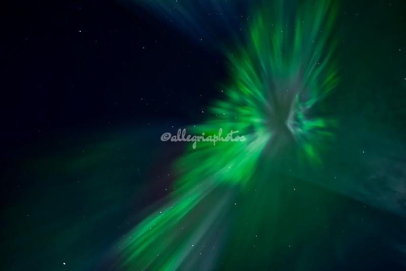 Northern lights fireworks, Geiranger, Norway
