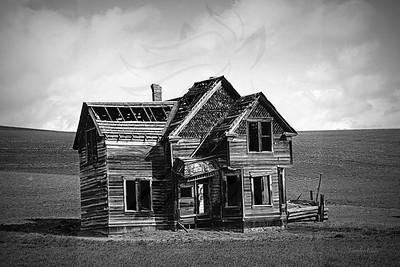 Wheatfield house. B/W