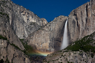 Moonbow and Yosemite Falls, May 6, 2012, 10:30 p.m.  It was the brightest point of the full spring moon, and Sentinal Meadow was a great place to enjoy the light all night long.  Entirely lit by the rising moon, stars and an occasional satellite managed to be included in this 20 second exposure.