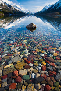 A mountain lake filled with precious gems.
